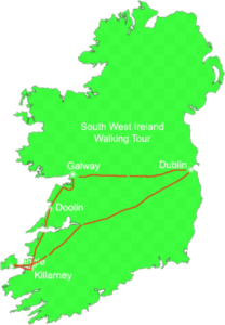 map of Ireland South West